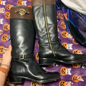 michael korda two toned leather boots
